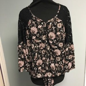 Flowing Knox Rose Boho Top with Long Bell Sleeve